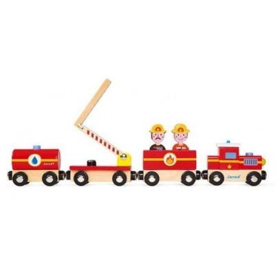 Машинки, поезда и дороги  Janod Pompiers деревянный поезд